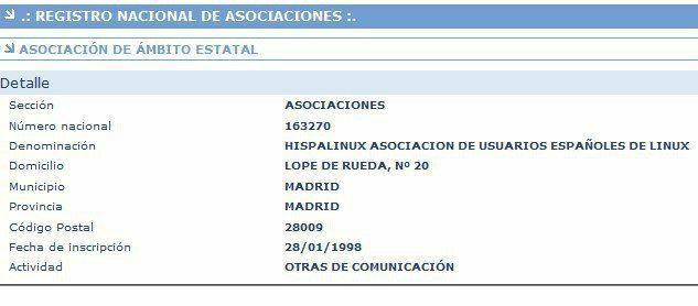 ficha de registro de la asociación HispaLinux